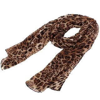 Unique Bargains Women Neck Chiffon Leopard Cheetah Print Wrap Stole Shawl Scarf