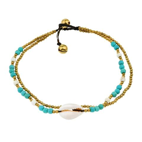 Handmade Double Strand Seashell Charm Blue Turquoise and Brass Bead Jingle Bell Anklet (Thailand)