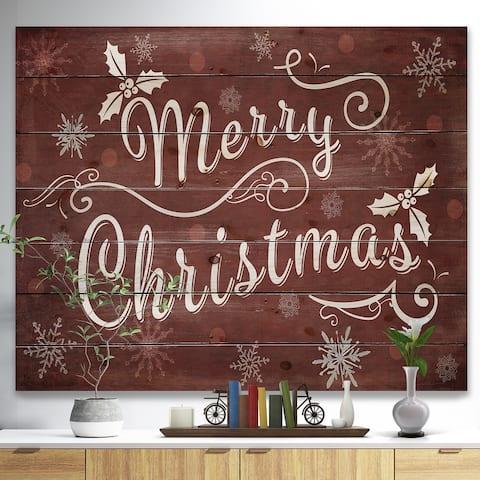 Designart 'Merry Christmas Season Greetings on Red' Print on Natural Pine Wood - Red