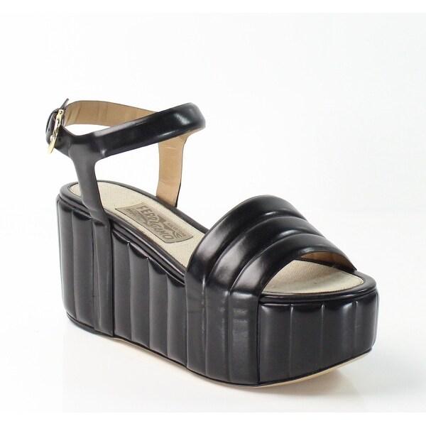 81c1db8dbd0 Shop Salvatore Ferragamo NEW Black Malika 8M Platforms Leather ...