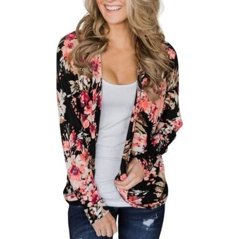 Women Floral Casual Loose Kimono Cardigan Capes Tops Tunics 85323