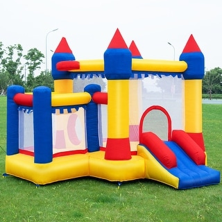 Costway Inflatable Bounce House Castle Kids Jumper Slide Moonwalk Bouncer without Blower - Red,Yellow.Blue