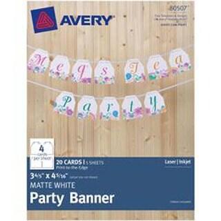 "White - Matte Party Banner 3-4/5""X4-5/16"" 20/Pkg"