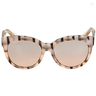 Gucci Asian Fit Rose Gold Striped Cat Eye Sunglasses - Beige