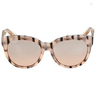 Gucci Asian Fit Rose Gold Striped Cat Eye Sunglasses - Beige