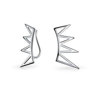 Bling Jewelry 925 Sterling Silver Fan Spike Ear Pins