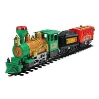 19-Piece B/O Lighted & Animated Christmas Express Train Set with Sound - RED