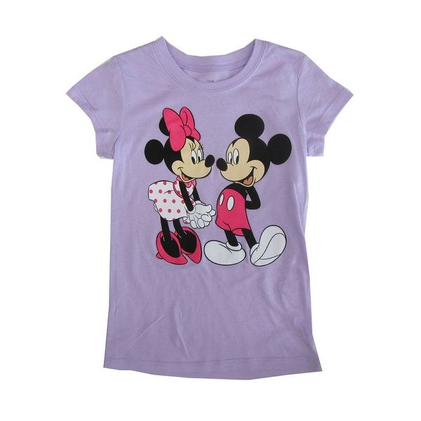 1335e63f8 Shop Disney Little Girls Violet Minnie Mickey Mouse Print Cotton T-Shirt -  Free Shipping On Orders Over $45 - Overstock - 23088313