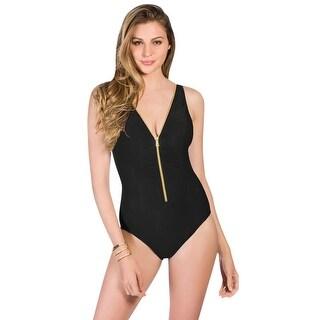 Miraclesuit Black Blitz Zipper One Piece Swimsuit