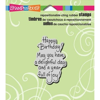 "Stampendous Cling Stamp 3.5""X4"" -Delightful Birthday"