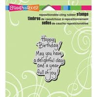 """Stampendous Cling Stamp 3.5""""X4"""" -Delightful Birthday"""