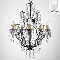 Crystal Chandelier Lighting With Candle Votives H27 x W21 For Indoor/Outdoor Use