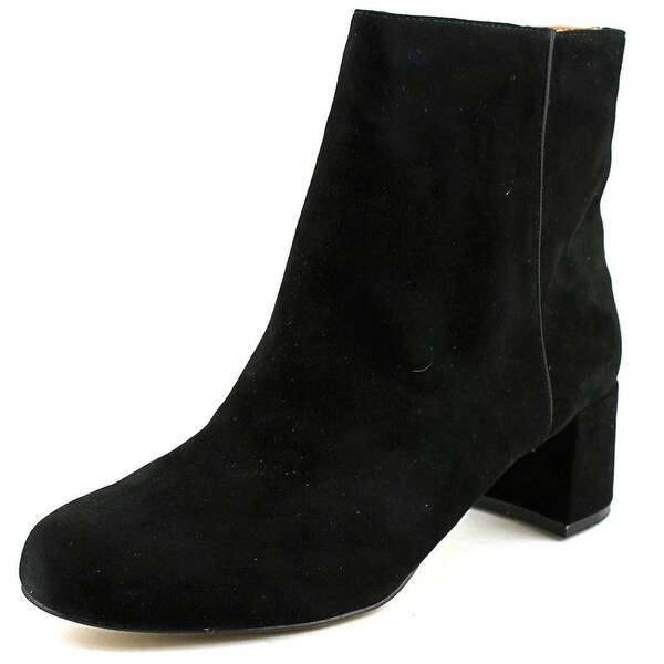 Adrienne Vittadini Louisa Women Round Toe Suede Black Ankle Boot