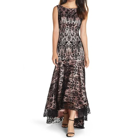 66396532308 Eliza J Black Pink Womens Size 10 Floral-Lace Hi-Low Gown Dress