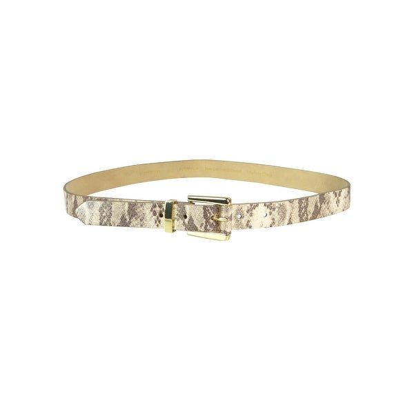 Style & Co. Women's Metallic Snake Print Leather Belt - Gold