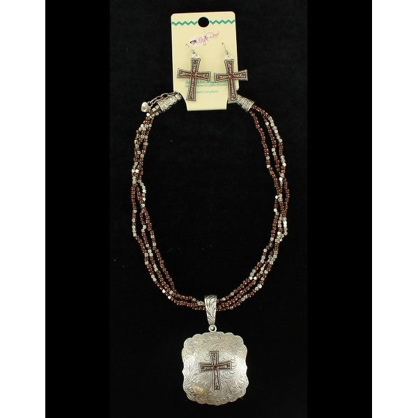 Blazin Roxx Jewelry Womens Necklace Earrings Beads Silver Brown 30908