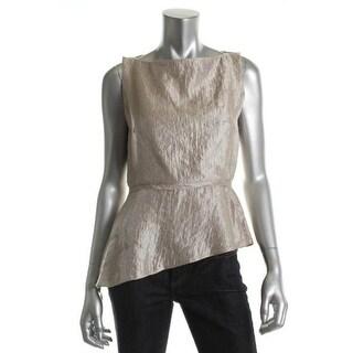 T Tahari Womens Anidora Shimmer Asymmetric Blouse - M