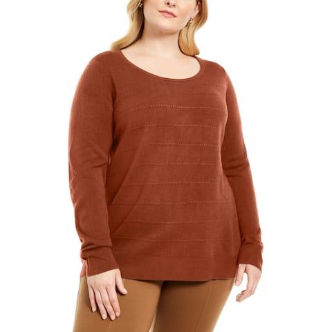 Karen Scott Womens Pullover Sweater Ribbed Trim Stiped Texture