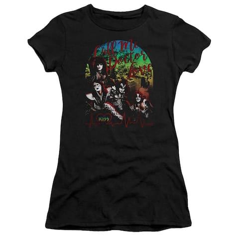 Kiss/Doctor Love Juniors Premium Bella Shirt (Black, Large)