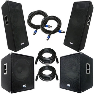 "Pair of Powered 18"" Subs, Pair of Dual 15"" PA Speakers, & 4 Cables - PA Package"