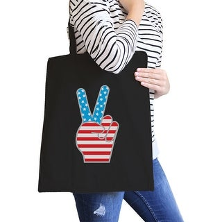 Peace American Flag Canvas Tote Unique Peace Sign Tote Bag For Her - Black