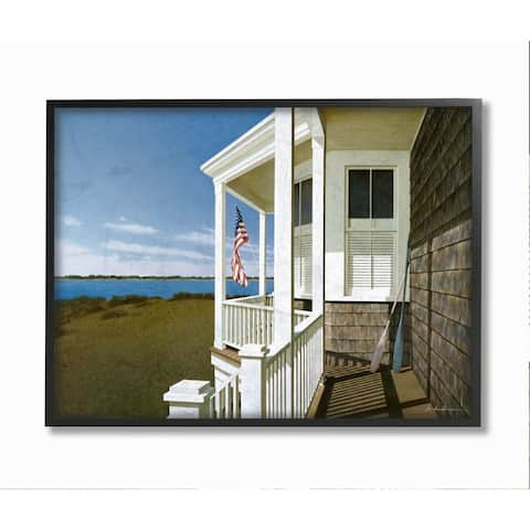 Stupell Industries Americana Cottage Porch Realistic Coastal Painting Framed Wall Art - Multi-Color