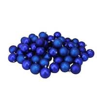 "60ct Royal Blue Shatterproof 4-Finish Christmas Ball Ornaments 2.5"" (60mm)"