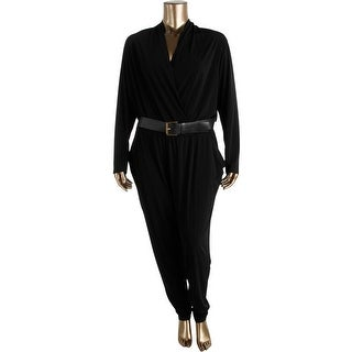 MICHAEL Michael Kors Womens Plus Long Sleeves Surplice Jumpsuit
