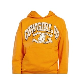 Cowgirl Up Western Sweatshirt Girls Print Pocket Orange CUY299
