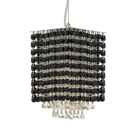 "Modern Contemporary Mini Pendant Chandelier Lighting Geometrics Quantum H 9"" X W 6"" - Dressed with Black Color Crystal!"