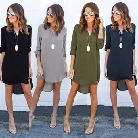 Sexy Long Sleeve V Neck Loose Shift Dress Plus Size Casual Irregular Dresses