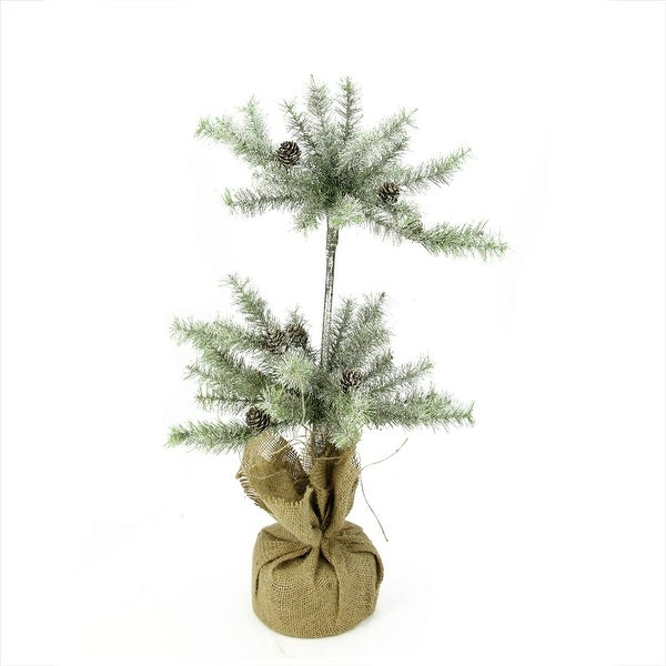 """28"""" Silent Luxury Vintage Glitter Pine Artificial Christmas Double Topiary Tree with Burlap Base - Unlit - silver"""