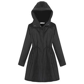 QZUnique Women's Plus Size Hooded Wind Coat Long Sleeve Coat Surcoat