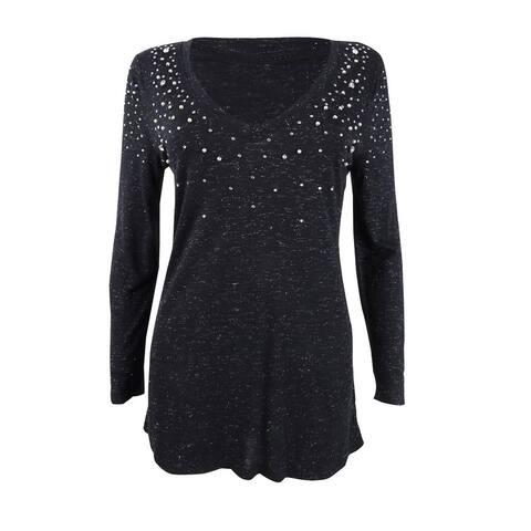 INC International Concepts Women's Embellished Shine V-Neck Top (S, Deep Black) - Deep Black - S