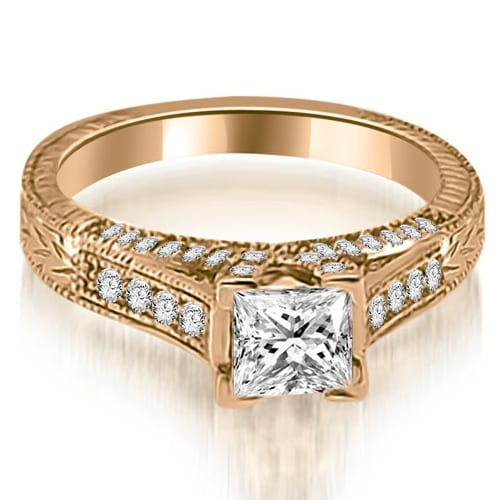 0.90 cttw. 14K Rose Gold Antique Princess Cut Diamond Engagement Ring