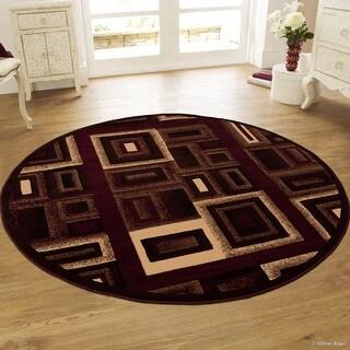 "Allstar Burgundy Abstract Modern Area Carpet Rug (4' 11"" x 4' 11"")"