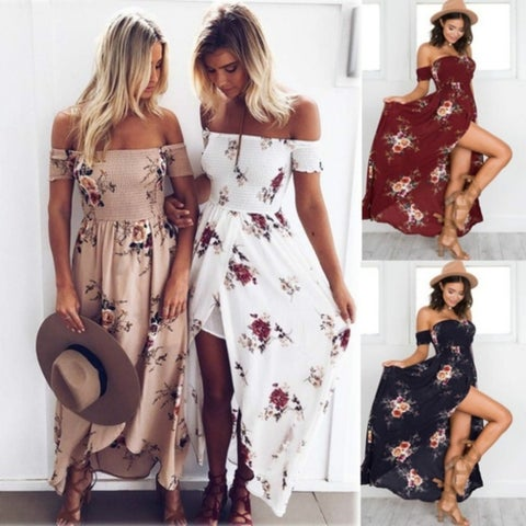 Summer Women Long Beach Dress Boho Floral Print Sexy Split Off Shoulder Vintage Chiffon Dresses