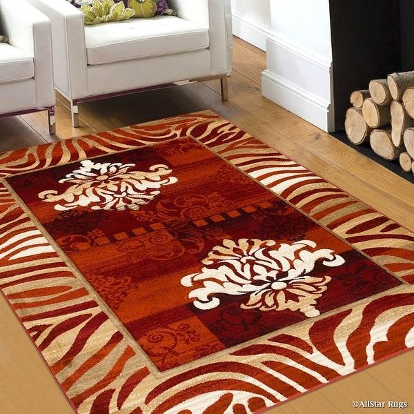 Allstar Orange Hand Carved Indian Print Design Area Rug 5 2 X 7