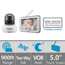 Samsung SEW-3043W BrightVIEW HD Baby Monitoring System IR Night Vision PTZ 5.0 Inch. Touch Screen