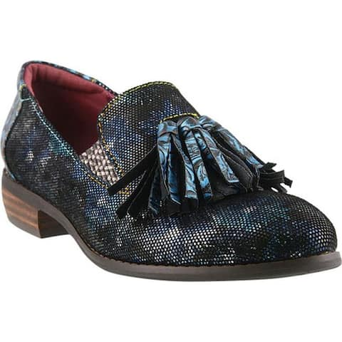 L'Artiste by Spring Step Women's Klasik-Foil Tassel Loafer Blue Multi Leather/Synthetic