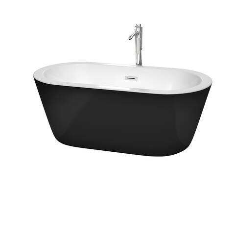 Mermaid 60 inch Freestanding Bathtub in Black with White Interior