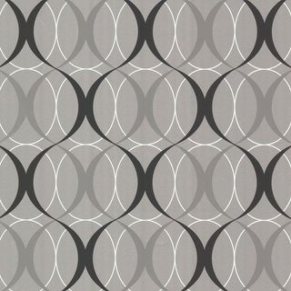 Brewster 450-67349 Circulate Silver Retro Orb Wallpaper