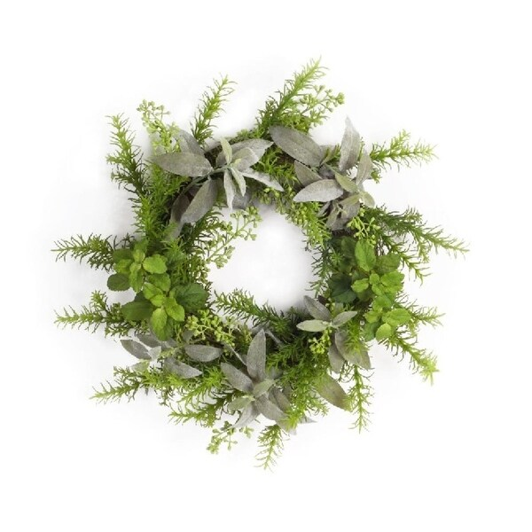 Set of 2 Pear Green and Smoke Gray Small Decorative Plastic Herb Wreath 17""