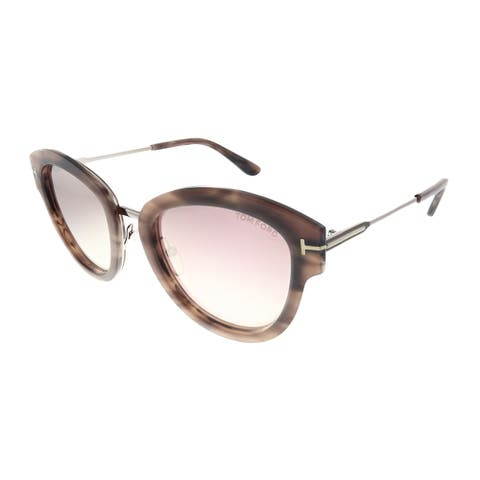 Tom Ford Mia TF 574 55Z Womens Havana Frame Pink Gradient Lens Sunglasses