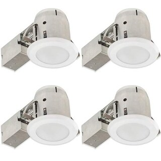 """Globe Electric 90952 4"""" Round Recessed Bathroom Ceiling Fixture - Trim and Housing - Package of 4 - White"""