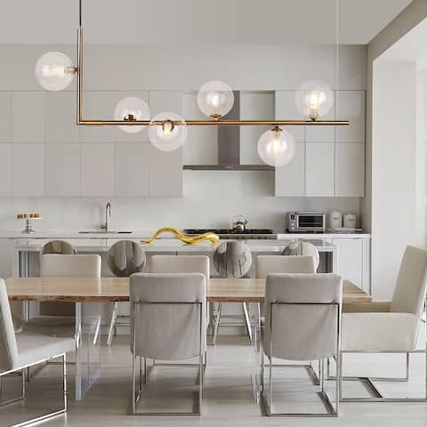 6-Light Linear Bubble Chandelier for Kitchen Island Dining Table