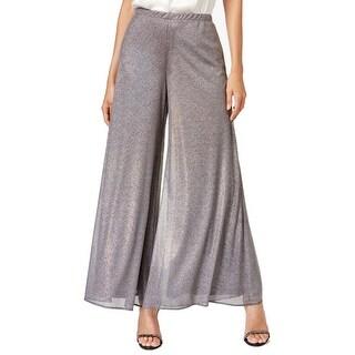 MSK NEW Holographic Silver Women's Large L Wide-Leg Shimmer Dress Pants