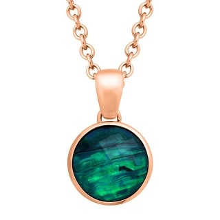 12 ct Natural Quartz & Abalone Pendant in 18K Rose Gold-Plated Bronze - White