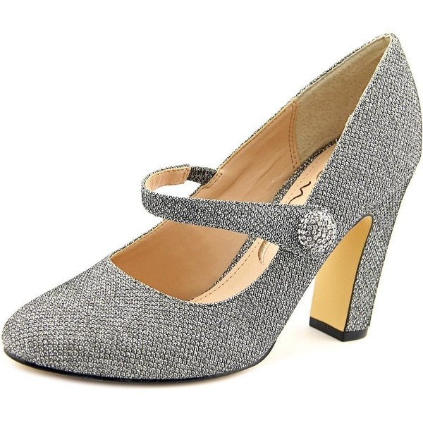Nina Dennie Women Round Toe Canvas Silver Mary Janes