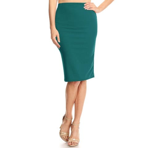 Women's High Waist Elastic band Solid Midi Skirt